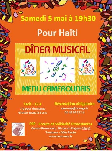 Affiche diner musical haiti 5mai2018